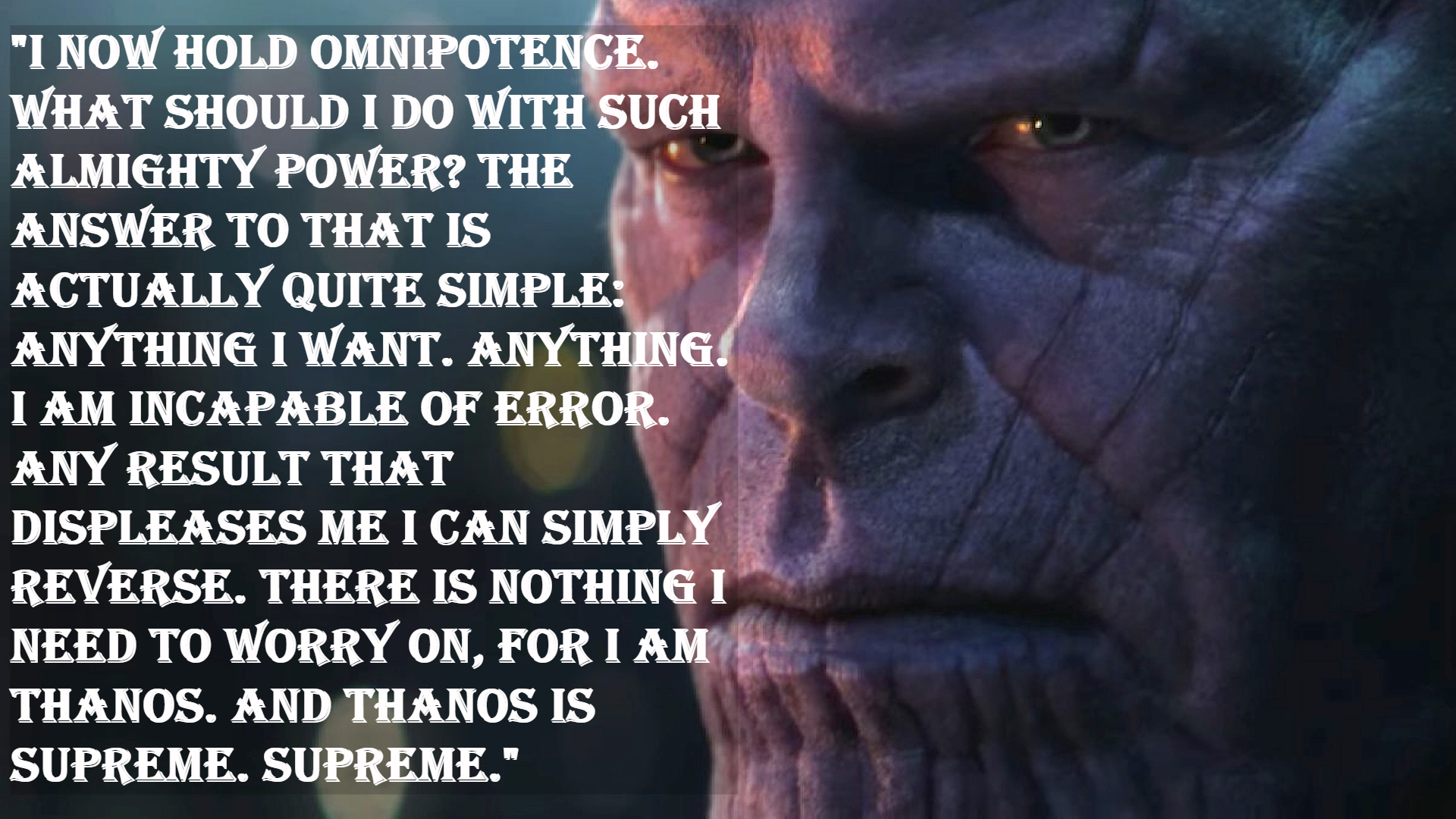 Thanos Infinity War quotes.