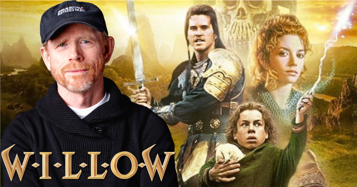 "Ron Howard next to the cast from ""Willow""."