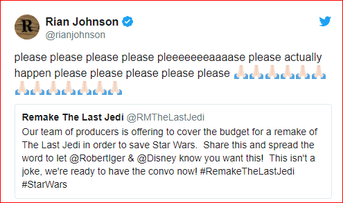 Rians Johnson Trolls Star Wars Fans As They Collect $15