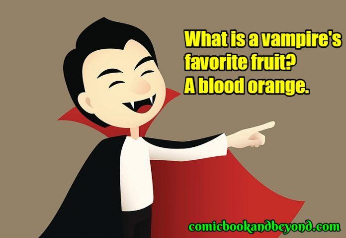 A cute, smiling cartoon vampire is pointing at something